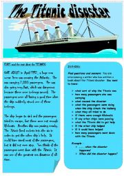 English Worksheets: The Titanic disaster