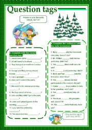 English Worksheets: Question tags