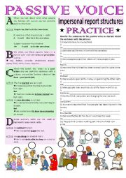 English Worksheet: IT IS SAID... Impersonal passive structure (key and greyscale included)