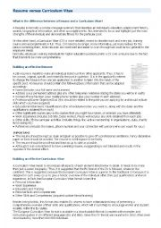 English Worksheet: Resume versus Curriculum Vitae