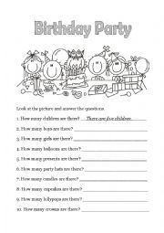 english teaching worksheets birthday party. Black Bedroom Furniture Sets. Home Design Ideas
