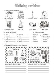 esl kids worksheets birthday vocabulary. Black Bedroom Furniture Sets. Home Design Ideas