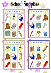 English Worksheet: School Supplies- Bingo