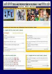 English Worksheet: Teenagers