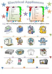 English teaching worksheets: Electrical appliances