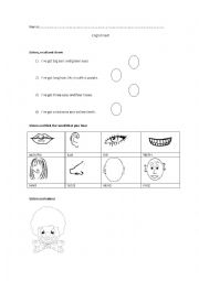 English Worksheets: my face, test