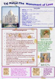English Worksheet: Taj Mahal The Monument of Love