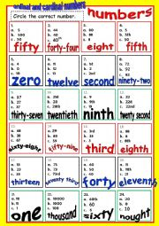 English Worksheet: ORDINAL and CARDINAL NUMBERS
