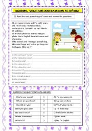 English Worksheets: reading with questions and matching activities