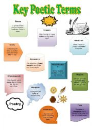 English Worksheets: key poetry terms