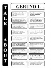 English Worksheet: Gerund - infinitive 1 - conversation cards (editable)