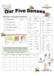 English Worksheets: the five senses
