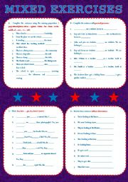 English Worksheets: MIXED EXERCISES - two pages