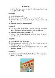 My school day composition - ESL worksheet by skevi