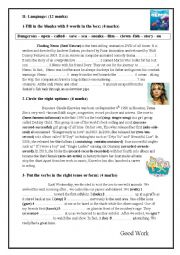 English Worksheet: Mid Term Test N°3 9th Form