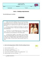 English worksheet: the city / shopping