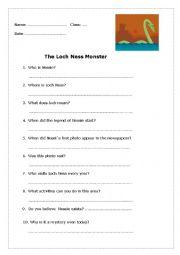 English worksheet: The Loch Ness Monster