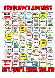 English Worksheets: frequency adverb board game