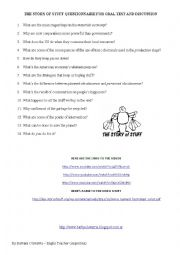 THE STORY OF STUFF - Video - Questionnaire for oral discussion and