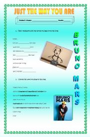 English Worksheet: Just the way you are, Bruno Mars