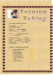 English Worksheets: Turning Tables by ADELE listening comprehension activity!