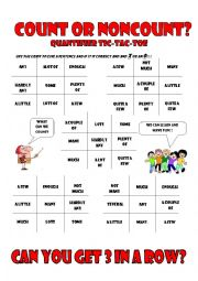 English Worksheet: Quantifier Tic - Tac - Toe