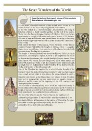 English Worksheet: The Seven Wonders of the World