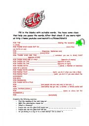 English Worksheet: COCA COLA COMMERCIAL