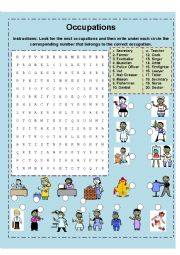 English Worksheets: Occupations Matching and Crossword Puzzle