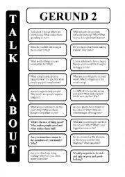 English Worksheet: Gerund - infinitive 2 - conversation cards (editable)