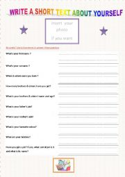 English Worksheets: WRITE A SHORT TEXT ABOUT YOURSELF