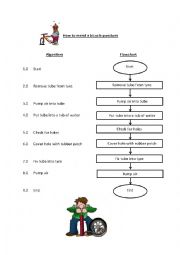 English Worksheet: How to mend a bicycle puncture