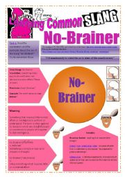 SLANG - Learning Common Slang - NO-BRAINER Part 1 of  2 (3 pages) -VIDEO LINK - A complete worksheet with many exercises and instructions