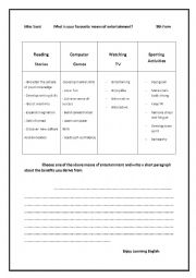 English Worksheet: means of entertainment: writing