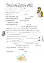 English Worksheet: Ancient Egypt quiz