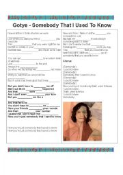 English Worksheets: Fill in the blank- Gotye