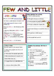 English Worksheets: FEW AND LITTLE