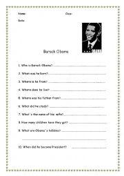 English worksheet: Barack Obama