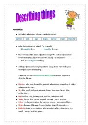 English Worksheets: Describing things