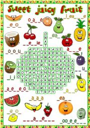 Sweet juicy fruit - wordsearch