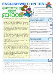 English Worksheet: TEST (7th form) on SCHOOL (key included)