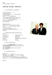 English Worksheets: Roxette - How do you do
