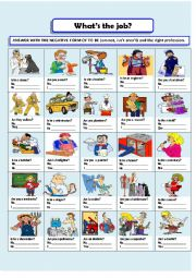 English Worksheets: PROFESSIONS WITH VERB TO BE NEGATIVE FORM