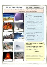 Natural Disasters Worksheet - Pics and Qs