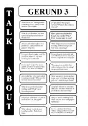 English Worksheet: Gerund - infinitive 3 - conversation cards (editable)