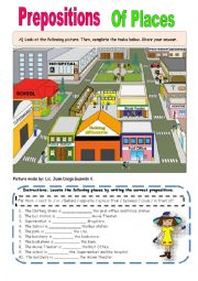 English Worksheet: Preposition of Places