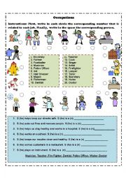 English Worksheets: Occupations Matching And Finding Who
