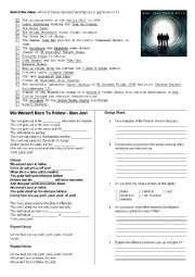 English Worksheets: We weren�t born to follow - Bon Jovi