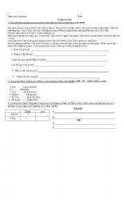 English Worksheets: Test with reading comprehension activity