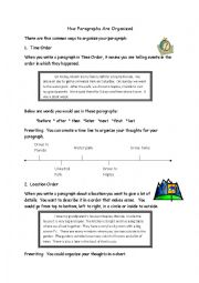 English Worksheets: How to Organize a Paragrap